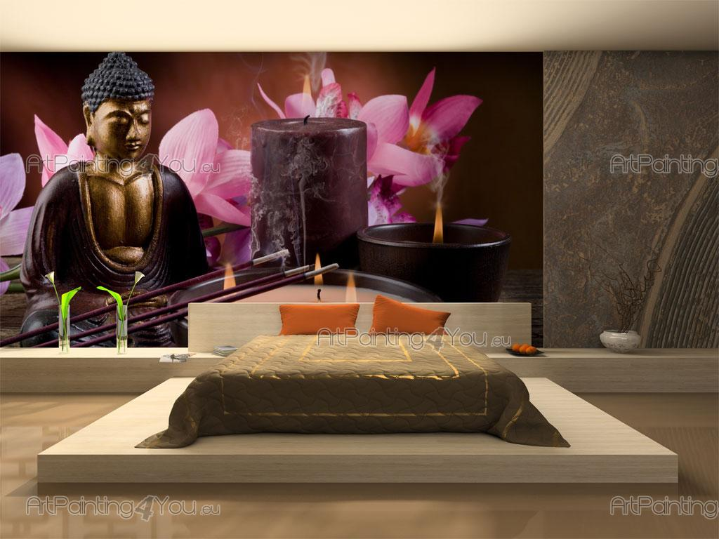 Wall murals posters buddha statue orchids for Cheap wall mural posters