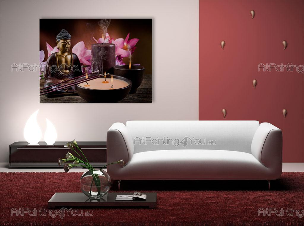 wall murals posters buddha statue orchids mcz1047en. Black Bedroom Furniture Sets. Home Design Ideas