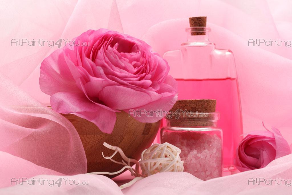 Papier peint fleurs poster impression sur toile rose for Poster sur toile