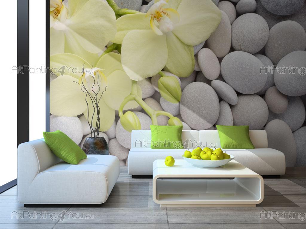 Wall murals posters zen stones orchids for Poster mural zen deco