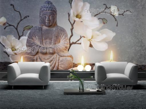 wall murals posters buddha statue orchids mcz1095en. Black Bedroom Furniture Sets. Home Design Ideas