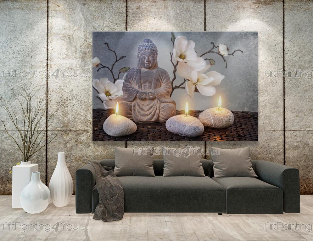 Wall murals posters buddha statue orchids for Poster mural zen deco
