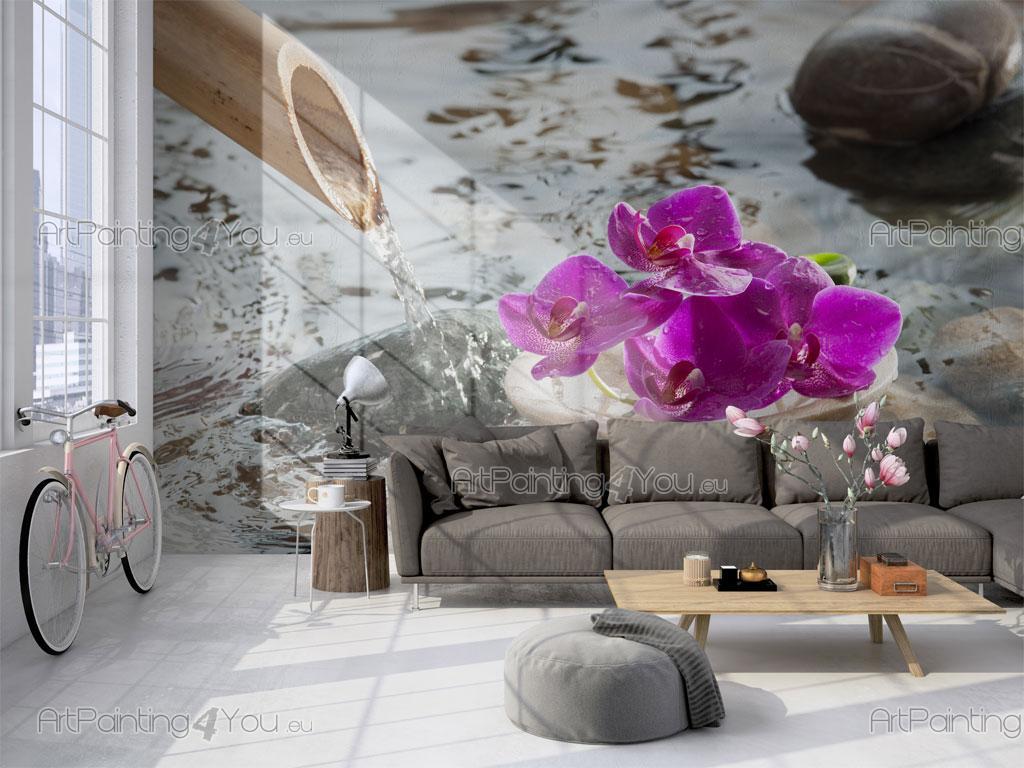 Fototapeten & Poster Zen Brunnen & Orchideen | ArtPainting4You.eu®