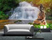 Zen Garden Buddha Statue - Try to relax in a Spa or living room while sitting towards this wall mural. Take a walk through a peaceful forest, cross a wooden bridge, listen to a creek running towards a waterfall and join a zen bronze Buddha in a meditation session.