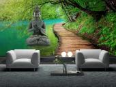 Zen Garden Buddha Statue - Try to relax in a Spa or living room while sitting towards this wall mural. Take a walk through a peaceful forest, cross a wooden bridge, listen to a creek running towards a waterfall and join a zen Buddha in a meditation session.