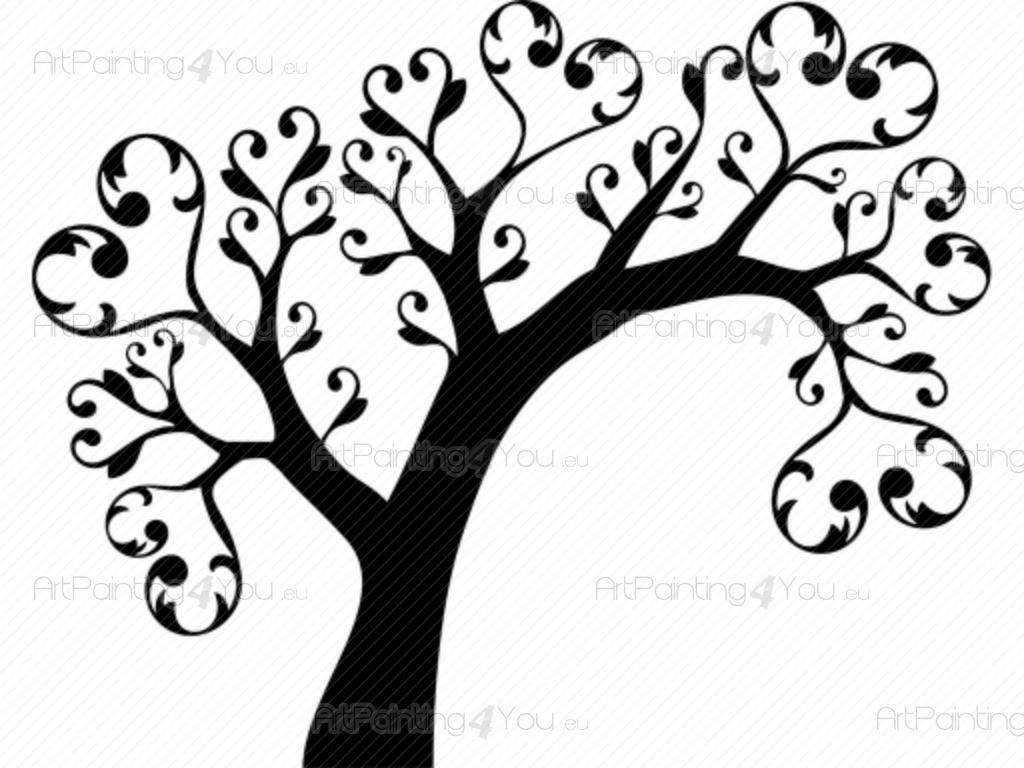Väggdekor Grå : Väggdekor abstrakt träd sv