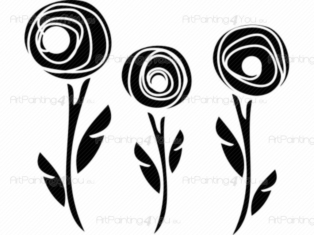 Abstract Flowers - Wall stickers for kitchen with three flowers