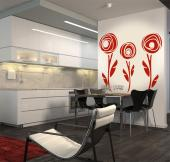 Abstract Wall Stickers - Floral wall stickers. Give your living room or kitchen contemporary decor a flowery touch with decals featuring three fresh rose buds....