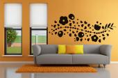 Abstract Flower - Decorate your living room with abstract wall decals for a very creative decor! This sticker features a floral design with a large branch with heart-shaped leaves and big flowers that attract butterflies and other insects.