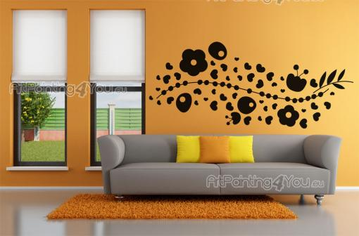 Floral Wall Stickers - Decorate your living room with abstract wall decals for a very creative decor! This sticker features a floral design with a large branch with heart-sh...