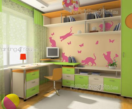 Wall Stickers for Kids - Animal wall decals for kids! This kit of stickers will look amazing on the walls of the room of an animal-loving child. It features six kittens in dif...