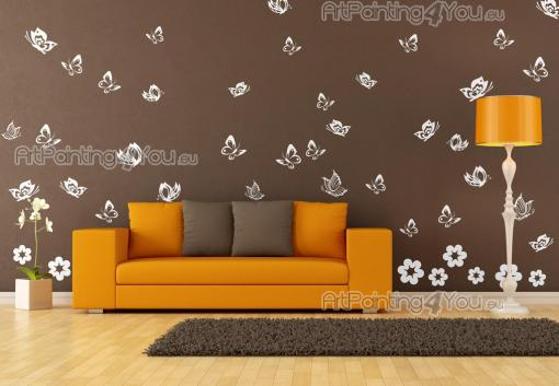 Butterflies (Kit) - Wall stickers for the decoration of living rooms and bedrooms. Let the Spring sun and the fragrances of sprouts and flowers fill your room and attract dozens of butterflies. Apply on walls and furniture the decals in this set, consisting of 42 butterflies and 8 flowers.