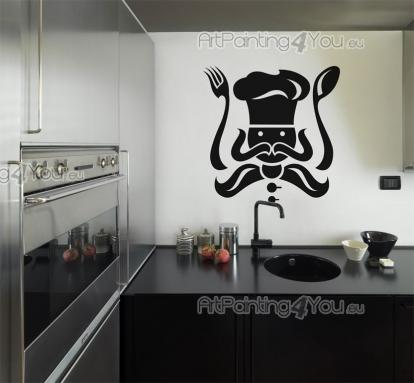 Kitchen Wall Stickers - Wall stickers and decals for a kitchen or a restaurant, perfect for a seafood lover. This chef looks like a squid from afar, with its long utensils, m...
