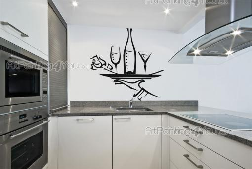 Kitchen Wall Stickers - Romantic wall stickers for your dining room or kitchen. Have on a wall a decal on the theme of wine. This one features the delicate hand of a waiter l...
