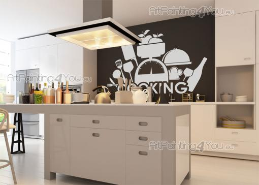 Kitchen Wall Stickers - Kitchen wall stickers for home chefs. Here you have a gathering of kitchen utensils and a chef hat around a kitchen scale, over the word cooking....