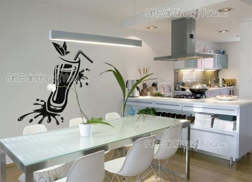 Kitchen Wall Stickers - Wall stickers for home kitchens, bars and pubs. Apply on a wall a refreshing decal of a summer cocktail garnished with herbs. Picture yourself having ...