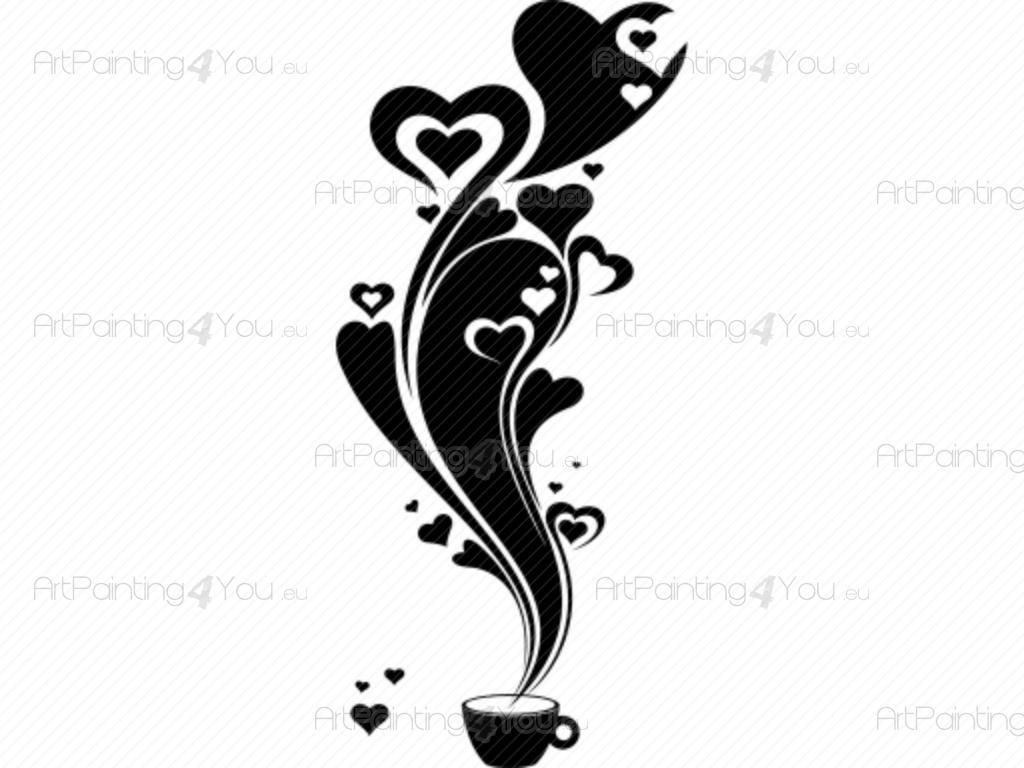 Dessin Tasse De Café Fumant stickers muraux café | artpainting4you.eu® | (vdc1024fr)