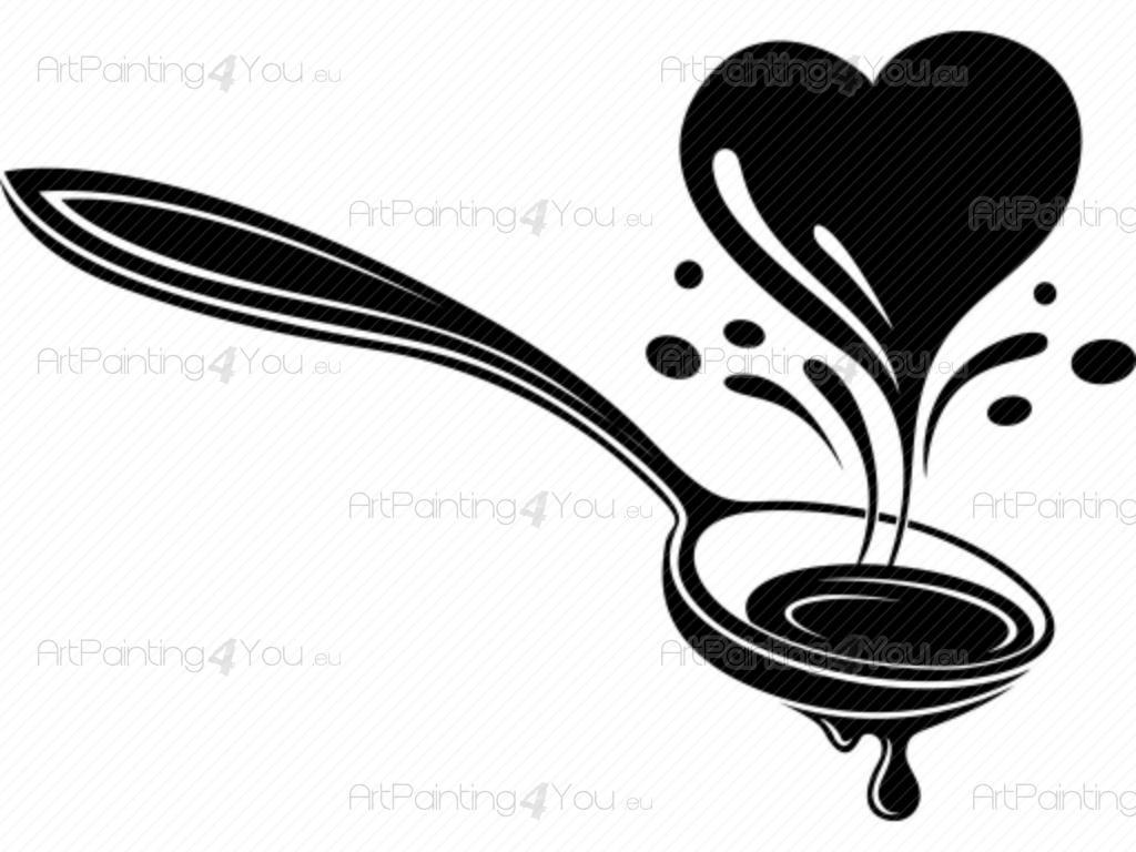 Vinil Decorativo Cozinha Talheres Artpainting4you Eu Vdc1026pt  ~ Desenho Utensílios De Cozinha