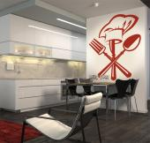 Kitchen Utensils - Wall stickers with elegant designs for the kitchen ruler. This crest features utensils: a fork on the left, a spoon on the right and a fork on the middle wearing a chef hat.