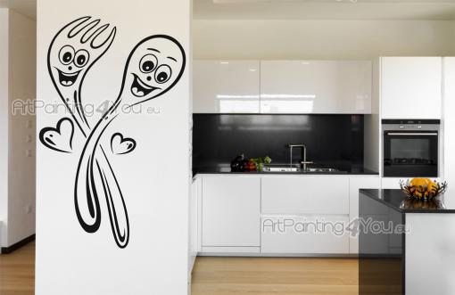 Kitchen Wall Stickers - Funny wall stickers for your kitchen or dining room featuring utensils. These cartoonish fork and spoon are in love with each other and your dessert!...