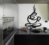 Kitchen Wall Stickers - Kitchen wall stickers. For a creative touch, apply on a cabinet or wall a decal with an abstract coffee cup giving off steam that swirls into a curiou...