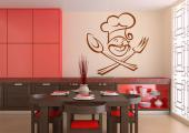 Chef - Have a decorative sticker on a kitchen wall. Take a look at our decal of a kind chef with his hat on, crossing his utensils like a pirate!