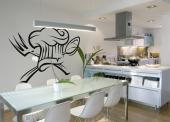 Chef - Decorate your kitchen or apply on a wall in your contemporary-style restaurant a crest inspired by the famous skull flag of pirates. Over two crossing utensils, a chef hat.