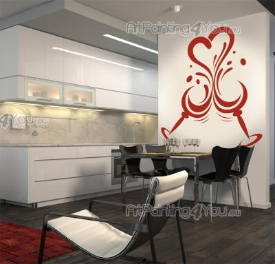 Kitchen Wall Stickers - Decorate your kitchen with some exclusive wall stickers. Celebrate your love with your special someone next to this romantic decal of two glasses with...