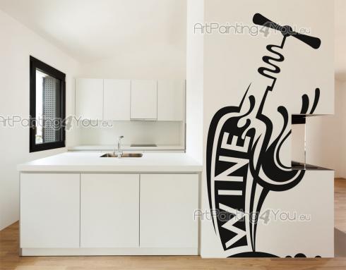 Adesivi murali bottiglia di vino for Adesivi muro cucina