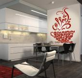 Kitchen Wall Stickers - Wall stickers that will bring more warmth to your kitchen. Here you have a silhouette of a coffee cup made of coffee beans that gives off a steam puff...