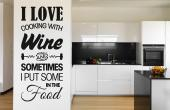 Decorative wall stickers featuring quotes and funny sayings for your kitchen. In this case, it looks like someone uses wine not just to season cookings, but mostly to have some themselves!