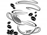 Kitchen Wall Stickers - Wall stickers for your kitchen or a covered balcony. Apply on a wall this decal of two full cups of coffee who dare to embrace amidst a crowd of toast...