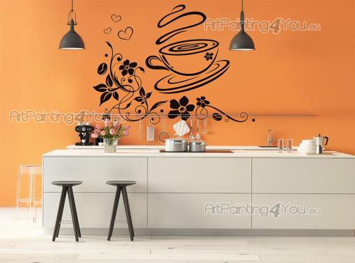 Coffee Cup - Floral wall stickers for the decoration of your kitchen or living room. Bring together the beauty of coffee flowers and the flavours of hot coffee in a cup with a decal with a pinch of love on the upper left corner in the form of little hearts.