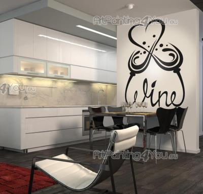 Kitchen Wall Stickers - Decorate your kitchen with romantic wall stickers. In the decal above the tips of the word wine, handwritten, join in the form of two glasses making a...