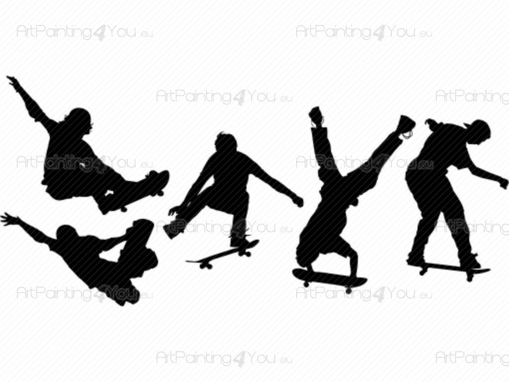 Väggdekor Grå : Väggdekor sport skate kit sv