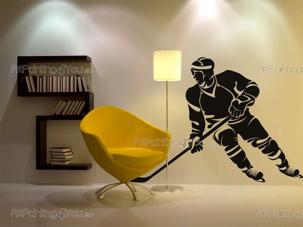 Väggdekor Grå : Väggdekor sport hockeyspelare sv