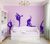 Rhythmic Gymnastic - Rhythmic gymnastics is a sport that descends from ballet and demands a lot of dedication from the athletes. Whether you're an athlete or a fan, try decorating your bedroom with these silhouette wall decals of four female performers.