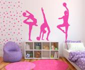 Rhythmic Gymnastic - Are you a fan of rhythmic gymnastics, the sport that can make you look as graceful as a ballerina? Here are three wall stickers that you can use to decorate your bedroom: these are the silhouettes of gymnasts performing with balls.