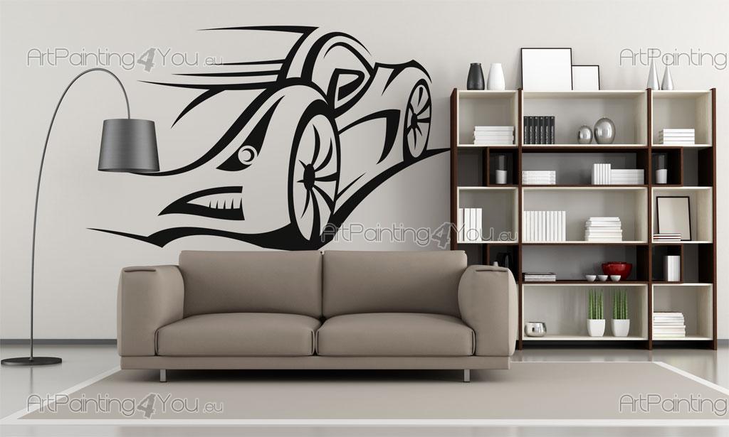 stickers muraux voiture de course. Black Bedroom Furniture Sets. Home Design Ideas