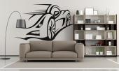 Racecar - Sports wall decals! Personalize your bedroom with all the things that you like. Apply on a wall this silhouette sticker of a sports car so fast it almost blends with the wind.