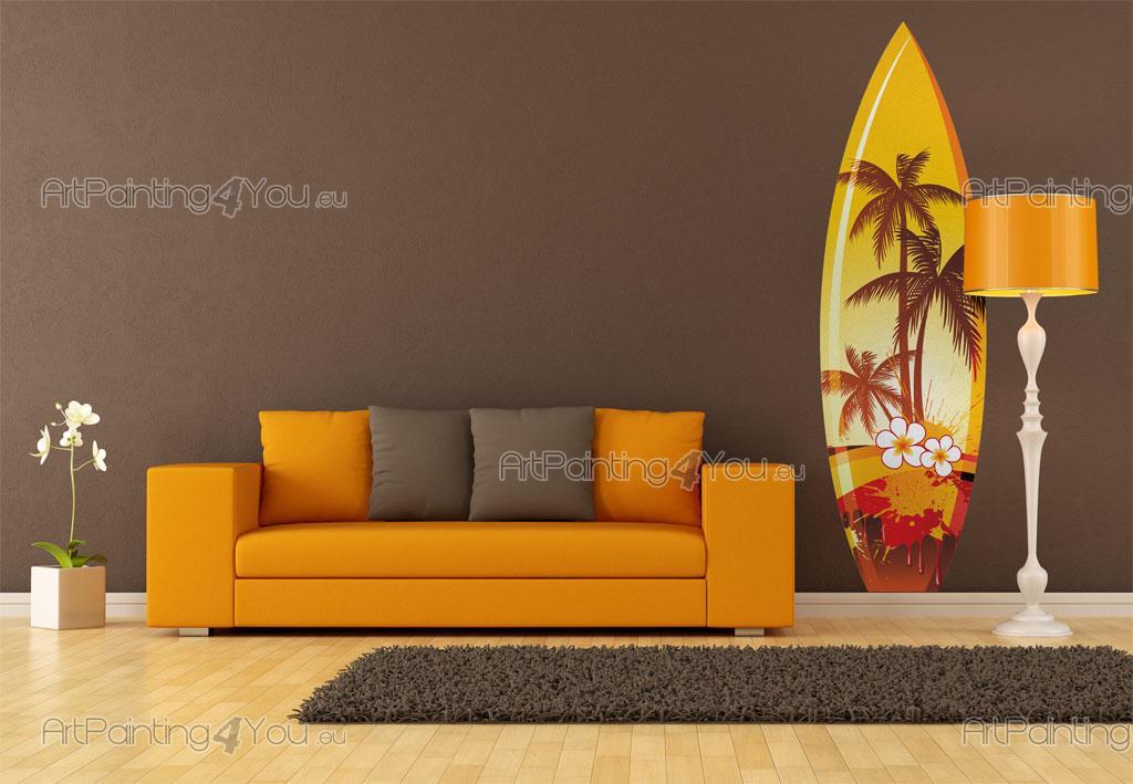 Vinilo para paredes silueta de palmeras y surfer en la - Vinilico para paredes ...