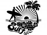 Surfeur & Palmier - Stickers Sport