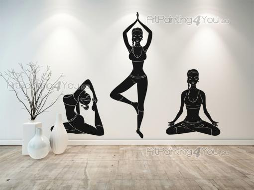 Silhouettes Wall Stickers - Wall decals for yoga and meditation rooms. Focus while performing the following postures, otherwise known as asanas, (stickers shown above, from left ...