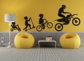 Collection of decorative wall stickers for interior decoration, illustrating motocross bikes