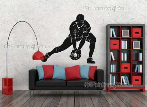 Sport Wall Stickers - Wall decor decals with a baseball player in the defense of the ball