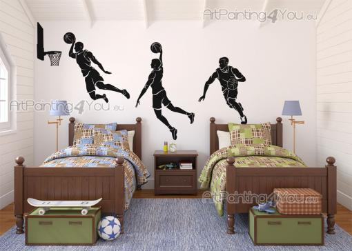 Sport Wall Stickers - Original wall decals perfect for decorating the children's bedrooms and teens, with 3 basketball players...