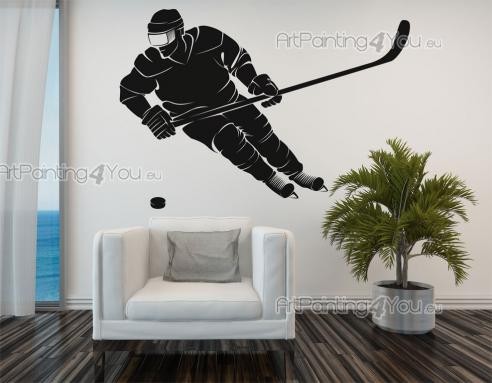 Sport Wall Stickers - Wall stickers for interior decoration, illustrating an ice hockey player, to customize the wall of the bedroom or living room...