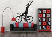 Bicyclist Silhouette - High quality and durability wall stickers illustrating a cyclist celebrating a victory on your bike, for interior decoration