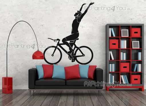 Sport Wall Stickers - High quality and durability wall stickers illustrating a cyclist celebrating a victory on your bike, for interior decoration...