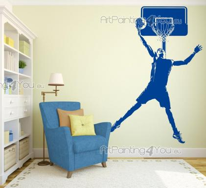 Basketball Player - Personalize your bedroom with wall stickers. For any basketball lover out there, here's a decal with the silhouette of a player about to perform a slam dunk.